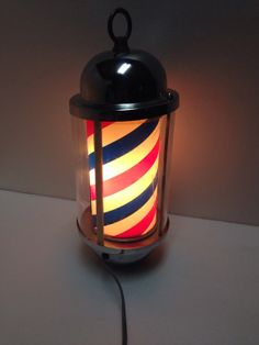 1940's / 1950's Vintage Red White& Blue Barber Shop Electric Pole that lights up, rotates on Etsy, $550.00