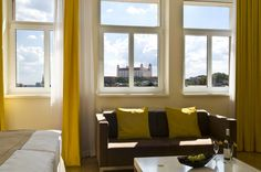 Bratislava Castle is one of the Slovakian gems that dominate the views from your window at Mamaison Residence Sulekova Bratislava. Corporate Blog, Bratislava, Wooden Flooring, Free Wifi, Contemporary Furniture, Castle, Windows, Dining, Wall