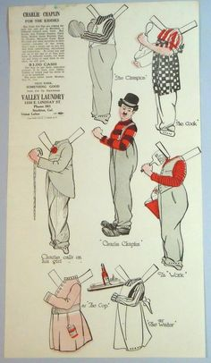 Charlie Chaplin Paper Doll w 6 Movie Costumes Promotes Laundry 1916