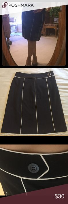 Black skirt with white piping Gorgeous Posh find that broke my heart when it did not fit me.  Spreading the love! Worthington Skirts A-Line or Full