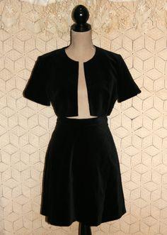 Vintage 80s Black Velvet Hipster Skirt & Bolero by MagpieandOtis