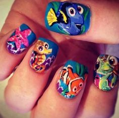 26 Unbelievable Movie Inspired Nail Art Designs. Finding Nemo