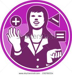 Illustration of a female office worker businesswoman facing front juggling square triangle circle with positive negative equals sign done in retro woodcut style set inside circle. Royalty Free Images, Business Women, Like You, Equals Sign, Retro Illustration, Mothers, Triangle, Spaces, Female