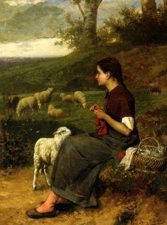 The Young Shepherdess-Albert Roosenboom (1845 – 1873, Belgian)
