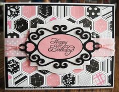 handmade card ... honeycomb embossing folder filled with pink and black hexagons cut from scrap patterned paper ...  birthday greeting ... like the overal look with black, white and pink ...