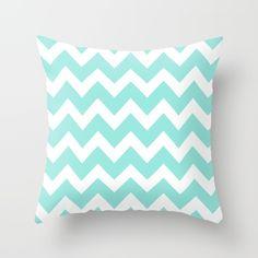 Chevron 5 Tiffany Blue Throw Pillow