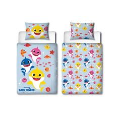 This Baby Shark Fishes 4 in 1 Junior Bedding Bundle Set has a toddler bed size duvet and pillow as well as a duvet cover and pillowcase. Free UK delivery available