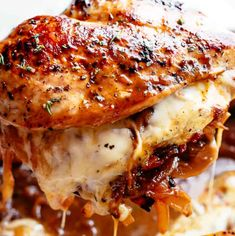 French Onion Stuffed Chicken Casserole makes for a delicious dinner! Juicy, succulent chicken breasts stuffed with caramelized onions and glorious melted cheese. A perfect weeknight or weekend dinner. Low Carb and Keto approved! Chicken Thights Recipes, Chicken Parmesan Recipes, Chicken Salad Recipes, Recipe Chicken, Fish Recipes, Onion Recipes, Chicken Recipes With Cheese, Bonless Chicken Recipes, Baked Boneless Chicken Recipes