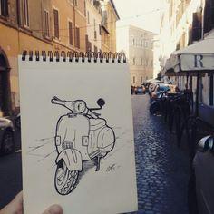 Cadê a minha vespa? #lambretta #vespa #trastevere #italy #culture #illustration #trip #sketch #sketchbook #arte #art #desenho #drawing #lineart #pendrawing #pencil #pensketch #penart #drawingbook #draw #naga