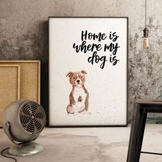 Home Is Where My Dog Is Staffordshire Bull Terrier Print Staffordshire Bull Terrier, Watercolor Print, Dog Breeds, Things To Think About, Colours, Lettering, Pop, Prints, Etsy