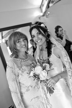 Bride with her mum before the wedding at Trevenna Barns