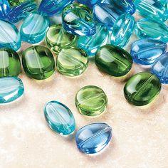 Aqua, Green & Blue Beads - 6mm-12mm - OrientalTrading.com