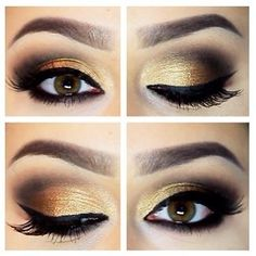 #maquillaje ahumado dorado #ahumado smokey dorado y negro solo esquina black and gold smokey eye #makeup