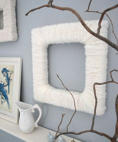 """yarn covered frame,how fun and easy to do with a little one.  It looks great alone, or even a mirrow behind it would be cute.  I am very into """"texture"""" right now."""