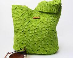 Crochet Handbag / Crochet Purse, Spring Handbag / Summer Bag, Green Handbag, Cotton / Full Lining / Summer Fashion Handbag by FallingDew on Etsy Spring Handbags, Purses And Handbags, Crochet Handbags, Crochet Purses, Crochet Bags, Cotton Crochet, Irish Crochet, Mercerized Cotton Yarn, Green Handbag