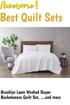Brooklyn Loom Washed Rayon Basketweave Quilt Set, Full/Queen, White ... (This is an affiliate link) #quiltsets
