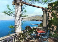 Our terrace over Sorrento bay in 1950