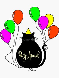 Buy Party Animal Black Cat Sticker by Notsundoku | Redbubble #cats #blackcats #partytime #birthdays #balloons #cats #celebrate #Notsundoku #Redbubble #Stickers