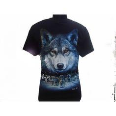 Wolves Print Black T-Shirt