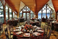 What a gorgeous wedding reception at Edgewood Tahoe in South Lake Tahoe! Edgewood Tahoe is the perfect location for your destination wedding, any season of the year. #destinationwedding #Tahoewedding www.tahoeweddingsites.com