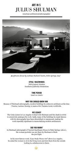 SHULMAN, JULIUS (1910-2009). This sort of sums up this amazing architectural photographers work.