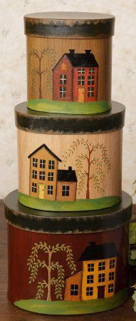 """3 Round Nesting Boxes - Crow with Flag, Primitive House with Star and Sheep with Primitive Heart - Medium 16"""" High When Stacked - Perfect for Primitive Country Home Decor by Prim and Proper Decor, http://www.amazon.com/dp/B007Q1GL6I/ref=cm_sw_r_pi_dp_Vllorb1C3D4X4"""