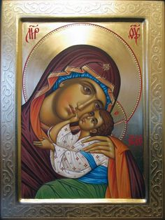 Embossing used in conjunction w red border on halo. Mary And Jesus, Artist Inspiration, Byzantine Art, Orthodox Christian Icons, Catholic Art, Art Icon, Sacred Art