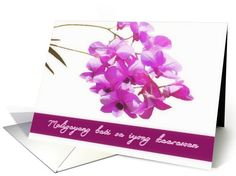 happy birthday in Tagalog, pink orchids,flower,floral, card