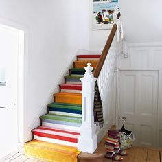 Chrissie Probert Jones victorian home featured in Living Etc. Colorful stair runner from stitched together Ikea rugs.