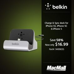 Save 58% on a Belkin charge & sync dock for #iPhone5S, #iPhone5C, & #iPhone5 at MacMall. #PriceDrop