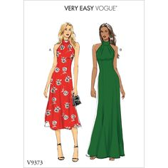 Buy Vogue Women's Halterneck Dress Sewing Pattern, 9373 from our Sewing Patterns range at John Lewis & Partners. Vogue Sewing Patterns, Vogue Dress Patterns, Dressmaking Fabric, Dress Making Patterns, Caftan Dress, Matches Fashion, Cute Summer Dresses, High Collar, The Dress