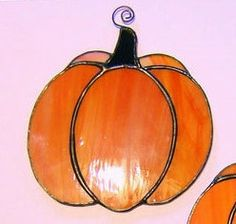 Cute Original Orange Stained Glass Pumpkin by StainedGlassAndMore, $24.99
