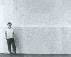 senkenbutai:  Yayoi Kusama with a now-lost infinity net, 1961