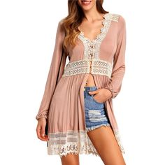 Pretty Romantic Lace Trim Button-Front V-Neck Pink Casual Loose Top One Size