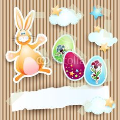 New! #Easter card with #bunny #vector