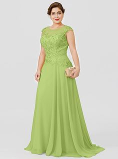 Plus Size Princess Illusion Neckline Floor Length Sweep / Brush Train Chiffon Beaded Lace Mother of the Bride Dress with Beading by LAN TING… Mother Of Bride Outfits, Mother Of The Bride Gown, Mother Of Groom Dresses, Mothers Dresses, Mother Of The Bride Dresses Plus Size, Evening Dresses Plus Size, Plus Size Dresses, African Fashion Dresses, African Dress