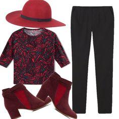 Proviamo a colorare questo autunno con un outfit basic ma colorato in alcune parti, pantaloni neri, maglia con disegni geometrici, stilosi stivaletti bicolori e un cappello a tesa larga, molto chic!