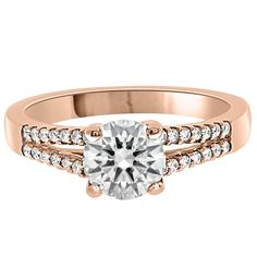 Round Brilliant Split Band from Loyes Diamonds with round brilliant cut diamond center stone with scallop set round brilliant diamonds in a split band. Buying An Engagement Ring, Shop Engagement Rings, Shopping Hacks, Dublin, Band, Stone, Stuff To Buy, Diamonds, Beautiful