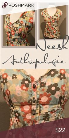 Neesh by D.A.R floral cap sleeve top blouse linen Good Pre owned condition. Anthropologie Tops Blouses