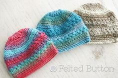 Only Just Born Hat, by Susan Carlson, A fun and textured newborn-sized hat for that sweet new little one in your life or for unique charity gifts. All Free Crochet, Crochet Bebe, Crochet Baby Hats, Crochet For Kids, Knitted Hats, Knit Crochet, Crochet Monkey, Crochet Summer, Newborn Crochet