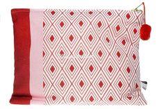 "Pom Pom Indio Travel Bag : Vibrant pink/red Indio pom pom bag. Inspired by vintage Sierra Leone ""kpokpo"" cloth patterns. Hand made in the UK. Pom pom detail. Text: Wanderlust."