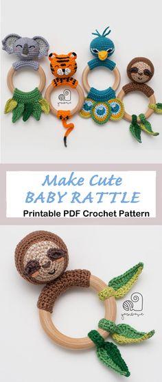 crochet baby rattle Patterns - Cute Gifts - A Crafty Life - amigurumi Crochet Baby Bibs, Crochet Fish, Crochet Dragon, Love Crochet, Crochet Gifts, Crochet For Kids, Crochet Baby Stuff, Crochet Baby Mobiles, Crochet Rug Patterns