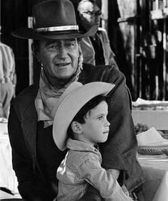 John Wayne and son Ethan, on the set of El Dorado, 1966
