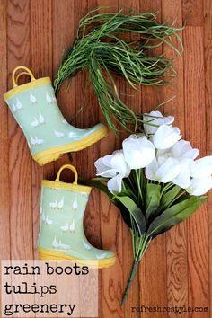 Rain Boots on the front door #diy #spring #doordecor