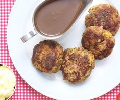 With a pile of buttery mash and a serve of your favourite vegetables, these old-fashioned rissoles and gravy for dinner will please the whole family. Mince Recipes, Apple Recipes, Beef Recipes, Cooking Recipes, Recipies, Weekly Recipes, Meatloaf Recipes, Meatball Recipes, Chicken Recipes
