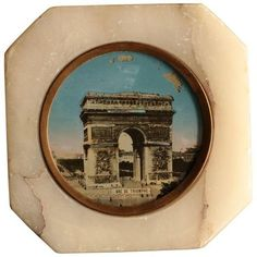 Antique Souvenir of Paris Marble Paperweight ($65) ❤ liked on Polyvore featuring home, home decor, office accessories, desk sets, marble paperweight, antique paper weights, marble paper weight, antique paperweights and antique desk set