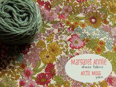 Liberty fabric in mustard, leaf, eggshell blue, dark rose, candy pink & yarn in sage green (Posy gets Cozy)