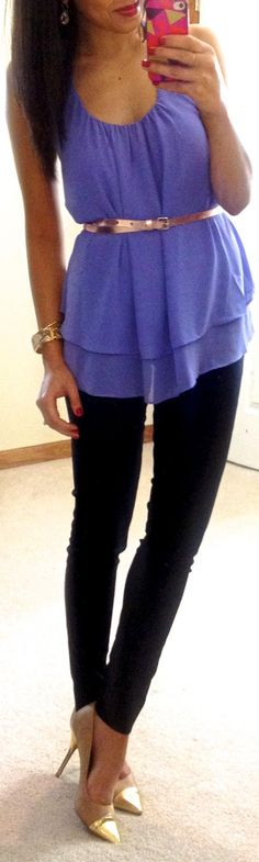 The purple Mayla tank looks classy with gold belt, skinnies and gold pumps