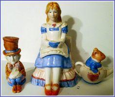 Alice  in  Wonderland, Mad Hatter, DorMouse.   Salt, Pepper Shakers,  Ceramic, Vintage by Riverripples on Etsy