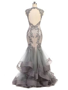 Fashionbride Womens Lace Crystals Prom Dresses Long Mermaid Evening Dress for Party F615SL18W *** Check out the image by visiting the link-affiliate link. #WomenDresses